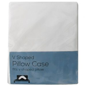 V Shape White PolyCotton Pillow Case