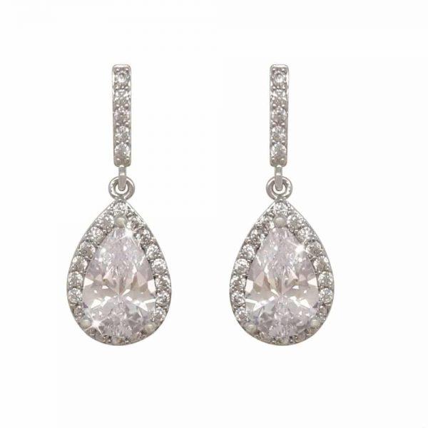 Silver Pear Shape Earrings - White