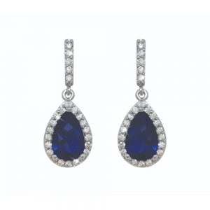 Silver Pear Shape Earrings - Blue