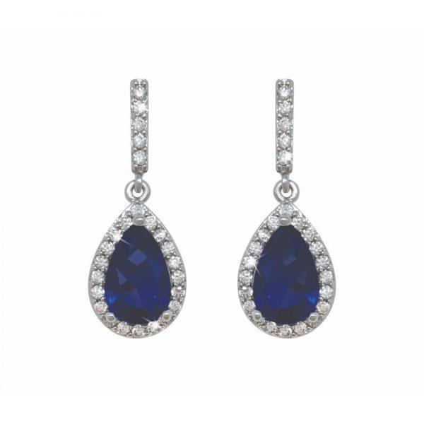 Silver Pear Shape Earrings - Blue