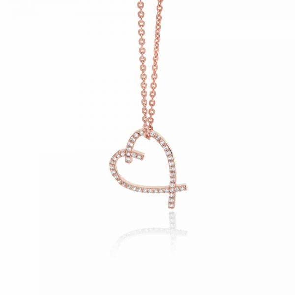 Rose Gold Freehand Heart Pendant