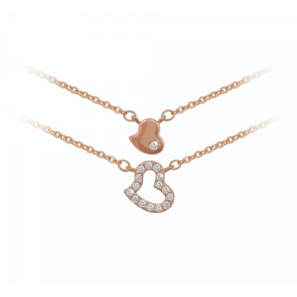 Rose Gold Double Heart Pendant (BN02736)