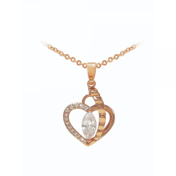 Rose Gold Heart Pendant With Marquise Cut