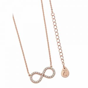 Stone Set Infinity Pendant Rose Gold