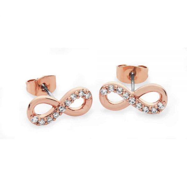 Part Stone Set Infinity Stud Earrings Rose Gold
