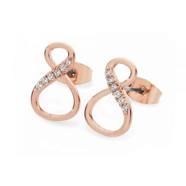 Tipperary 8 Shape Infinity Stud Earrings Rose Gold