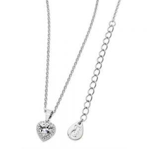 Diamante Heart Drop Pendant Silver