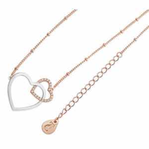 Sparkling Interlinked Hearts Pendant Rose Gold