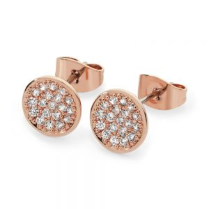 Pave Full Moon Earrings Rose Gold