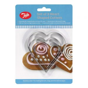 Plain Heart Cutters Set Of 3 Stainless Steel