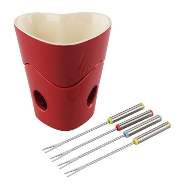 Tala Originals Red Heart Fondue Set with 4 Forks