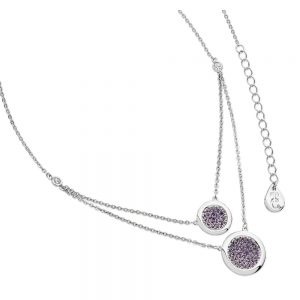 Lavendar Double Moon Drop Pendant Silver