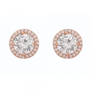 Tipperary Crystal Rose Gold CZ Round Stud Earrings