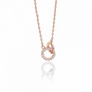 Tipperary Crystal Rose Gold Circles Pendant