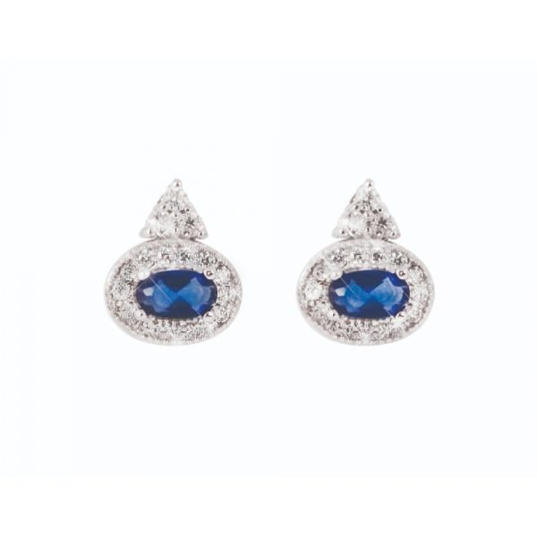 Tipperary Crystal Sapphire and Silver Earrings