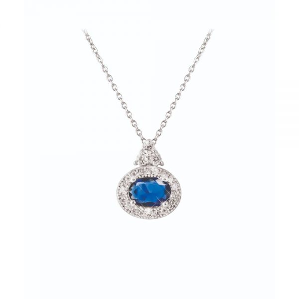 Tipperary Crystal Oval Sapphire Pendant Silver