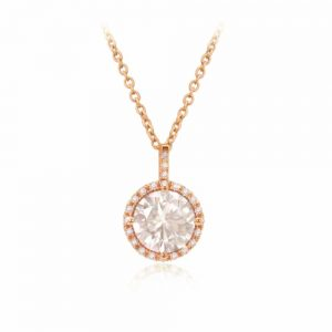 Tipperary Crystal Rosegold CZ Round Pendant