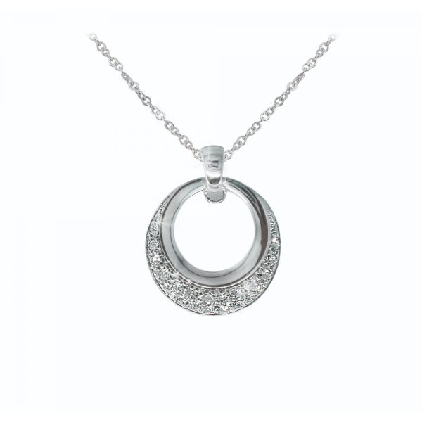 Tipperary Crystal Silver Circle Pendant