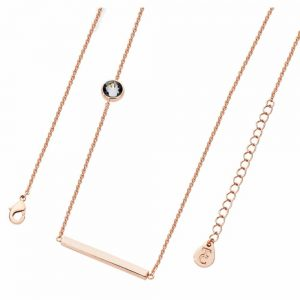 Tipperary Rose Gold Cable Chain Necklace with Bar