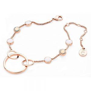 Rose Gold Open Hoop Bracelet with Opal Stones