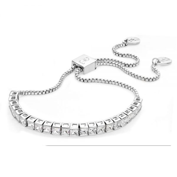 Tipperary Square Tennis Bolo Bracelet Silver