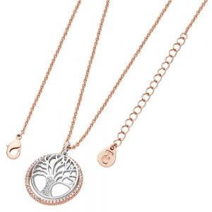 Tree Of Life Necklace with Cz Circle Rose Gold