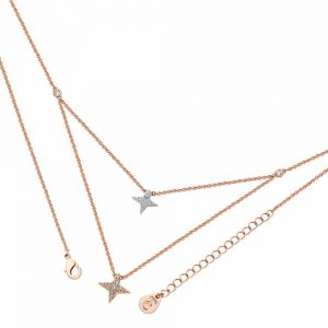 Double Floating Pave Star Necklace Rose Gold