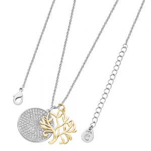Tree Of Life Necklace with Pave Disc Silver