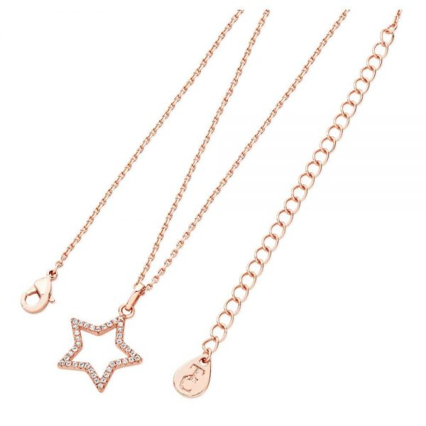 Star Pendant Open Rose Gold With CZ