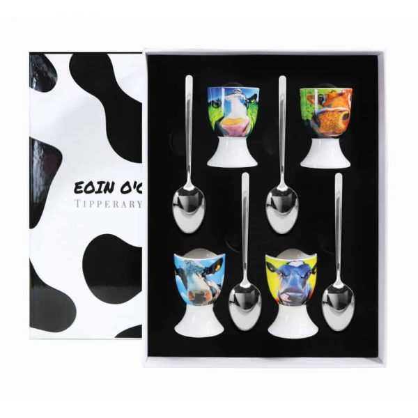 Eoin O Connor Cows Set of 4 Egg Cup and Spoon
