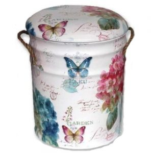 Butterflies Metal Stool with Padded Seat