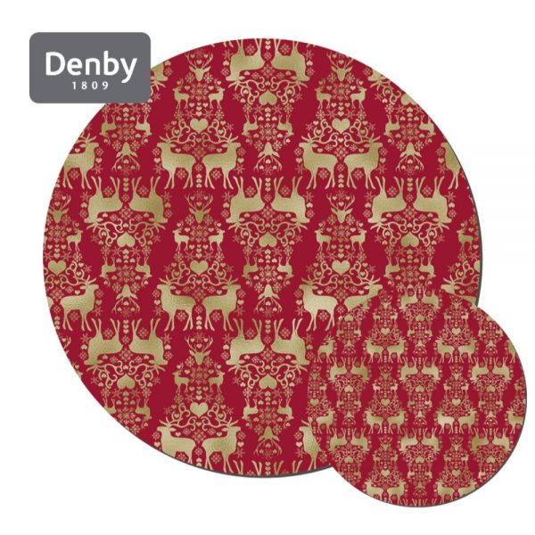 Denby Round Christmas Placemats & Coasters Set 6