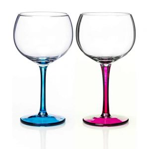 Gin Glass Pair Aqua and Pink