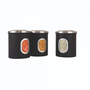 Denby Set Of 3 Storage Canisters Black