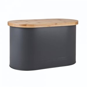 Denby Bread Bin With Bamboo Board Grey
