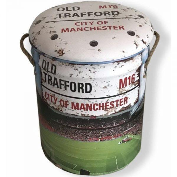 Old Trafford Metal Stool Large 36x44cm