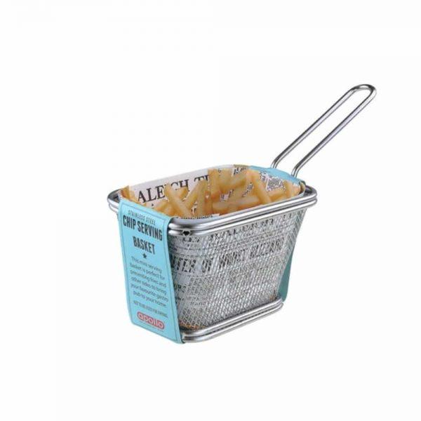 Stainless Steel Chip Serving Basket Rectangular