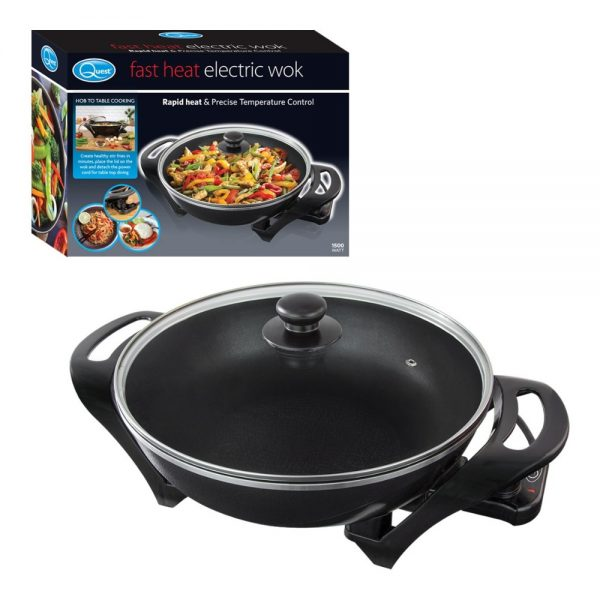 Electric Non-Stick Wok with Glass Lid 33x9cm Plate