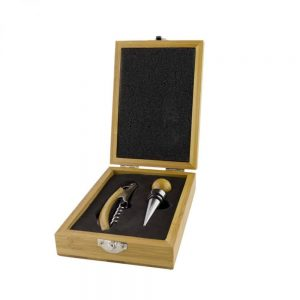 Grunwerg 2 Piece Wine Set with Wooden Bamboo Case