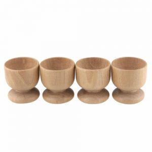 Set Of 4 Beech Wood Egg Cups
