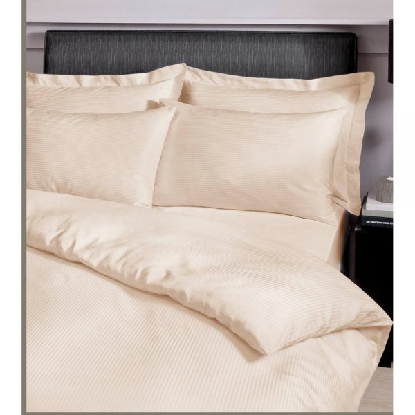Satin Stripe 300TC Double Fitted Sheet Cream