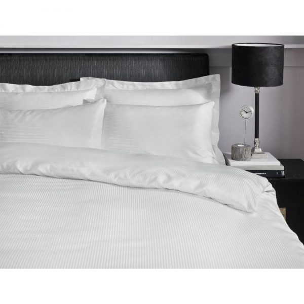 300TC Satin Stripe White King Duvet Set