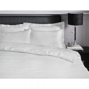 300TC Satin Stripe White Super King Duvet Set