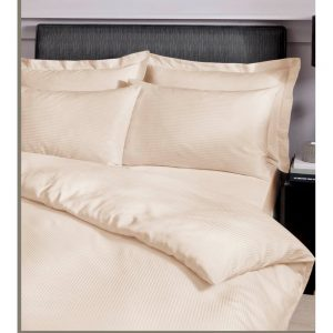 Satin Stripe 300 TC Super King Quilt Set Cream