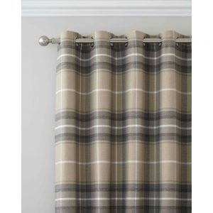 Heritage Check Grey Curtains 66 x 108
