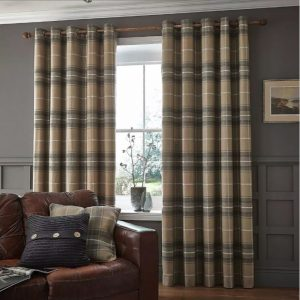 Heritage Check Grey Curtains 66 x 72