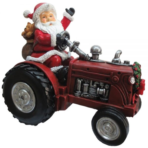 Santa & Red Tractor Size 24x18x22cm