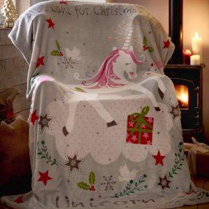 Unicorn Christmas Throw 130x170cm