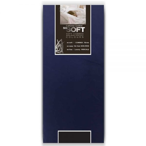 Percale Non Iron Double Fitted Navy Sheet