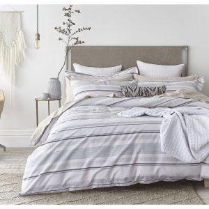 SIngle Stripe Weave Blue Duvet Set